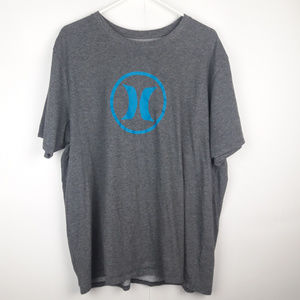 Hurley Gray Blue Logo T- shirt 2XL Nike Dri Fit
